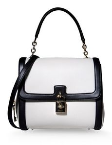 DOLCE & GABBANA Two-tone pattern Framed closure Internal pocket Removable shoulder strap Studs Logo detail Handbags Medium not made of fur
