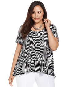 Alfani Plus Size Printed Chiffon-Back Top