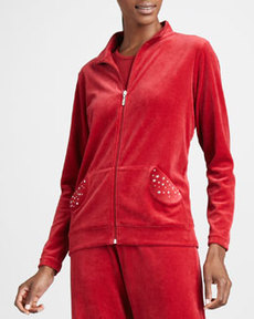 Joan Vass Velour Track Jacket, Women's
