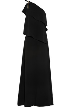 Chloé One-shoulder embellished crepe gown