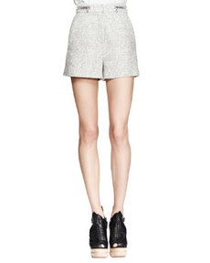 High-Waist Tweed Zip Shorts   High-Waist Tweed Zip Shorts