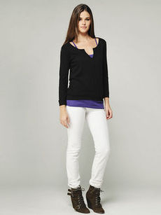 roll sleeve high-low henley