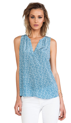 Joie Fifi Mini Textural Dot Printed Silk Tank in Blue