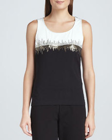 Joan Vass Two-Tone Beaded Sleeveless Shell, Women's