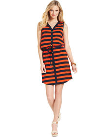 Jones New York Signature Sleeveless Drawstring Striped Dress