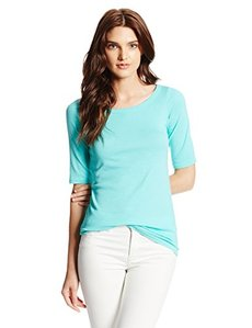 Michael Stars Women's Elbow Sleeve Wide Scoop Neck Tee Shirt