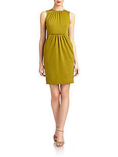 Carmen Marc Valvo Sleeveless Gathered Sheath Dress