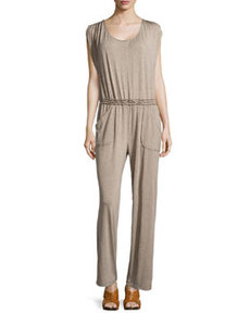 Max Studio Jersey Scoop-Neck Jumpsuit, Heather Toast