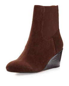 Taryn Rose Kuri Suede Wedge Bootie, Chocolate