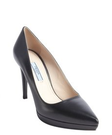 Prada black leather platform pumps