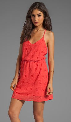 DV by Dolce Vita Darah Eyelet Embroidery Mini Dress in Coral