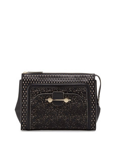 Jason Wu Daphne Laser-Cut Clutch Bag, Black