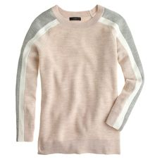 Stripe-sleeve merino sweater