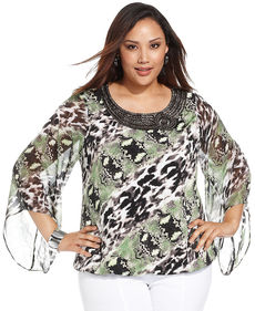 Alfani Plus Plus Size Angel-Sleeve Printed Blouse