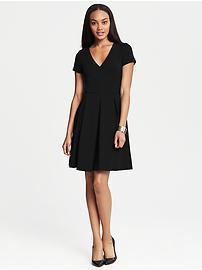 Ponte Pleated Fit-and-Flare Dress