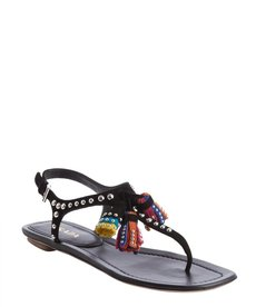 Prada black leather studded detail multi-color tassel sandals