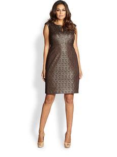 Kay Unger, Sizes 14-24 Metallic Lace Dress