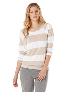 stripe raglan crew neck top