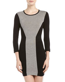 French Connection Colorblock Paneled Knit Dress, Gray/Black