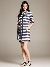 Bold Stripe Cotton/Linen Shirtdress