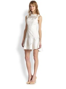 Robert Rodriguez Kuba Embroidered Drop-Waist Dress