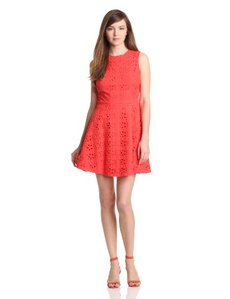 Cynthia Steffe Women's Hailey Floral Eyelet Fit and Flare Dress