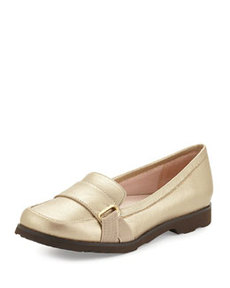 Taryn Rose Jaz Metallic Napa Leather Loafer, Gold