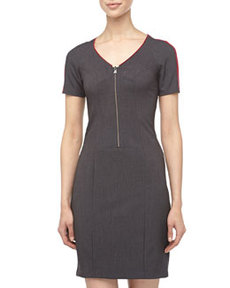 Marc New York by Andrew Marc Trimmed Zip-Front Suiting Dress, Charcoal