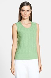 St. John Yellow Label Arrow Cable Stitch Scoop Neck Shell