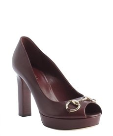 Gucci scarlet leather horsebit peep toe platform pumps