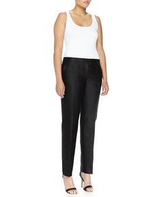 Michael Kors Samantha Slim Shantung Pants, Black, Women's