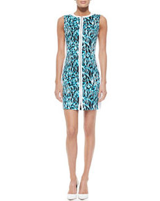 Mila Printed Front-Zip Dress, Space Blue   Mila Printed Front-Zip Dress, Space Blue