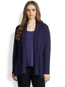 Eileen Fisher, Sizes 14-24 Wool Shaped Cardigan
