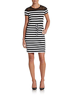Calvin Klein Striped Mesh-Top Dress