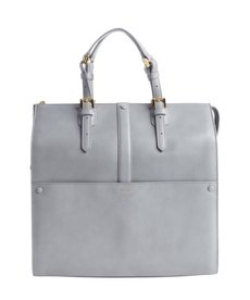 Armani grey leather 'Bauletto Medio' top handle bag