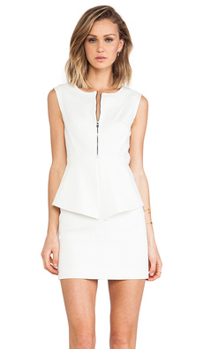 Tibi City Peplum Dress in White