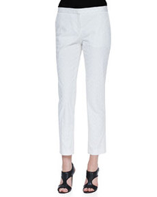Patterned Twill Slim Cropped Pants   Patterned Twill Slim Cropped Pants