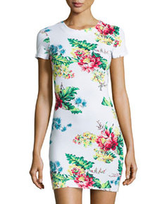 French Connection Gwendolyn Floral-Print Tee Dress, White/Multi