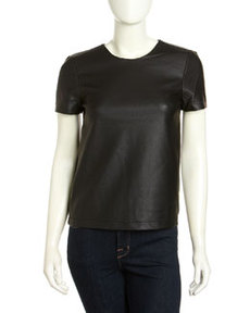 French Connection Athena Faux-Leather Top, Black