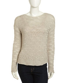Paper Denim & Cloth Pullover Open Knit Sweater, White