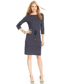 Charter Club Metallic Striped Drawstring Dress