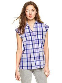 Plaid pintuck shirt