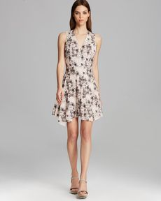 Robert Rodriguez Dress - Sleeveless V Neck Floral Poplin Fit and Flare