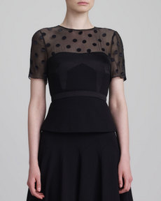 Jason Wu Short-Sleeve Dot-Yoke Peplum Top