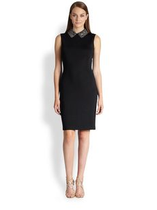 St. John Beaded Collar Sheath Dress