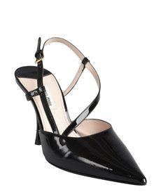 Miu Miu black patent leather strappy pointed toe pumps