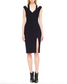 Sequin-Inset Crepe Dress   Sequin-Inset Crepe Dress