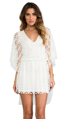 T-Bags LosAngeles Crochet Caftan Dress in Ivory