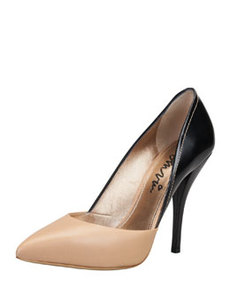 Bicolor Pointed Single-Sole Pump, Black/Tan   Bicolor Pointed Single-Sole Pump, Black/Tan