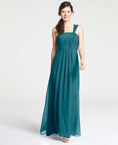 Petite Silk Georgette One Shoulder Gown